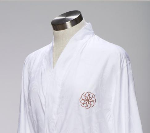 Cotton jacquard kimono style bath robe for hotels