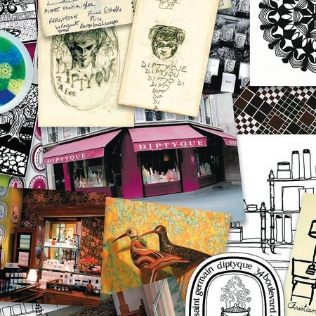 Diptyque collage with store
