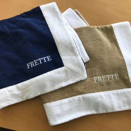Frette Navy and Khaki Pool Towels