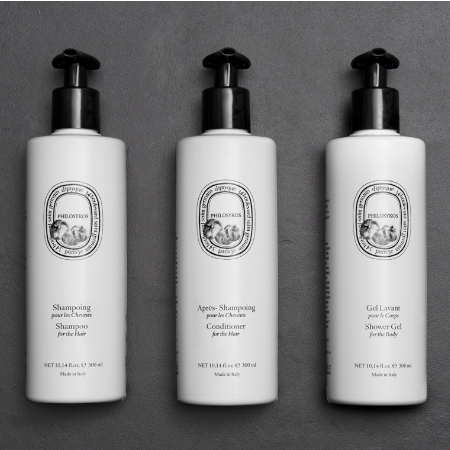 Diptyque 300ml dispenser toiletries featuring the invisible dispenser bracket for hotels