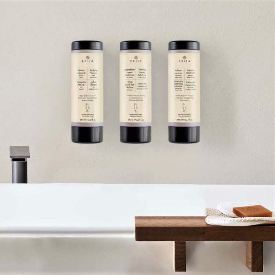 Prija toiletries from Italy in an environmentally friendly cysoap dispenser