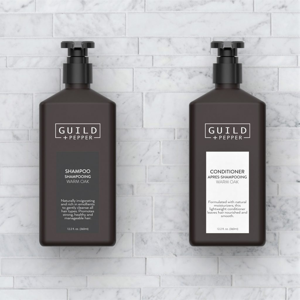 Guild and Pepper fine toiletries in pump bottle dispensers from Gilchrist & Soames