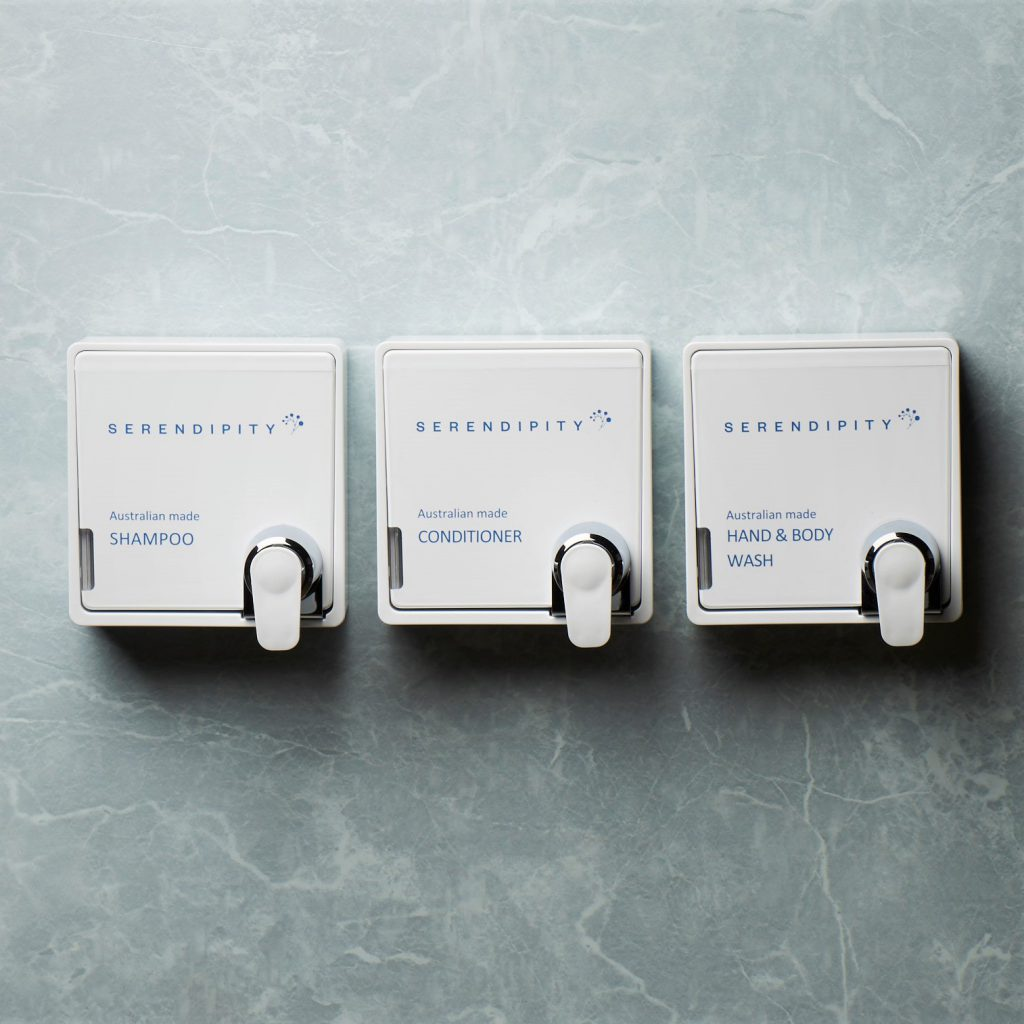 Serendipity Skincare Mosaic Dispenser brackets for simple and safe use in hotels and serviced apartments
